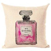 Girly Girl, pink Coco chanel No 5 perfume Pillow cushion