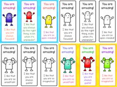 Compliment Bookmarks by EasyBreezyESL End Of School Year, Having A Bad Day, Teaching Materials, Feeling Special, Little Gifts, Esl, Bookmarks, Compliments, Coupons