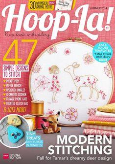 Hoop-La! Magazine (Digital) Diy Embroidery Kit, Wooden Embroidery Hoops, Embroidery Patterns Free, Ribbon Embroidery, Embroidery Designs, Embroidery Sampler, Modern Embroidery, Deer Girl, Baby Deer