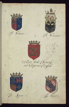 Book of English heraldry, Arms of the Brittains, the Romanes, William Duke of Normandy, Conquerour of England, the Saxons, the Danes, Walter...