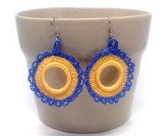 Blue and bisque round crochet earrings. by GloriaSanchezArtist