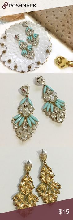 🍾NY SALE🍾 Blue Bejeweled Statement Earrings Never worn. Length of earrings is a little over 3 inches. Not J Crew- brand just for exposure. J. Crew Jewelry Earrings