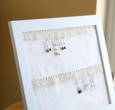 earring holder: picture frame, lace