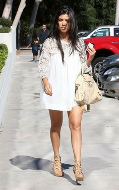 LOVE LOVE LOVE the short long sleeve white dress with nude heels<3