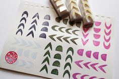 arrow pattern stamps. geometric hand carved rubber by talktothesun