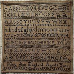 19th Century Black Work Alphabet Sampler by Mary Ann England 1855        ...~♥~