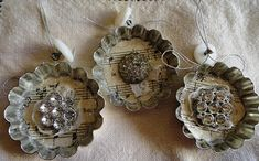 Great tart tin ornaments!! now I know what to do with all those vintage tart tins I have, this is so cute.