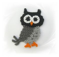 SaVö-Design - Eule grau gehäkelt, Häkelapplikation, crochet owl, Applique
