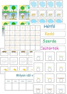 naptár_gyerek6 Ideas Para, Free Printables, Calendar, Places To Visit, Seasons, Activities, Kids, Preschool, Weather