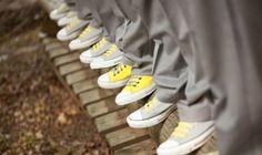 alternating converse shoes for groom and groomsmen. Yellow Grey Weddings, Gray Weddings, Purple Wedding, Wedding Colors, Spring Wedding, Yellow Converse, Outfits With Converse, Converse Shoes, Cheap Converse