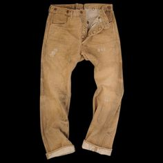 RRL: I just love canvas pant. I find they way a straight outseam pant twists so interesting. Tan Jeans, Blue Jeans Mens, History Of Jeans, Rocker Look, Sharp Dressed Man, Western Shirts, Work Pants, Swagg, Work Wear