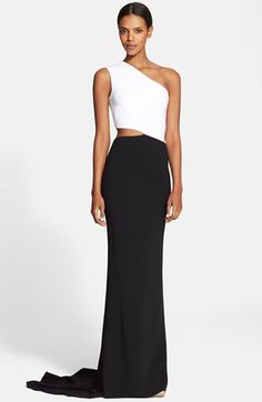 Free shipping and returns on Stella McCartney Side Cutout One-Shoulder Gown at Nordstrom.com. A cutout side counterbalances the asymmetrical neckline of a riveting gown pairing a bright fitted bodice with a contrast curve-skimming skirt that ends with a pooling train.