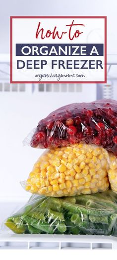 How to Organize a Deep Freezer - Organizing Moms Looking for tips on how to organize a deep freezer? Use this method to help you clean out your freezer, and always know what it contains from now on. Deep Freezer Organization, Kitchen Cupboard Organization, Small Kitchen Storage, Home Organization Hacks, Diy Kitchen, Fridge Organization, Organizing Solutions, Kitchen Cleaning, Organizing Tips
