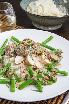Pan Seared Chicken Breasts in a Mushroom, Tarragon and Mustard Pan Sauce