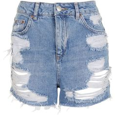 Topshop Moto High Waisted Rip Mom Short (605 ARS) ❤ liked on Polyvore featuring shorts, denim shorts, destroyed jean shorts, high-waisted denim shorts, distressed denim shorts and distressed jean shorts
