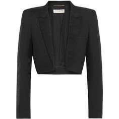 Saint Laurent Cropped satin-trimmed wool-gabardine blazer (19664740 PYG) ❤ liked on Polyvore featuring outerwear, jackets, blazers, black, cropped camisole, tuxedo blazer, cropped cami, cropped jacket and tuxedo jacket