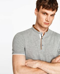 Image 4 of POLO SHIRT WITH FAUX SUEDE COLLAR from Zara