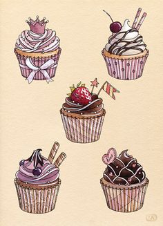 Cupcake drawing ref-bakery by Natalia Tyulkina