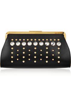 Marni|Embellished leather clutch