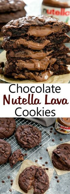 Oversized rich chocolate cookies with a molten Nutella lava center Nutella Lava Cookies. Oversized rich chocolate cookies with a molten Nutella lava center. Chocolate Nutella, Chocolate Cookies, Chocolate Recipes, Chocolate Chips, Best Nutella Recipes, Chocolate Smoothies, Chocolate Shakeology, Baking Chocolate, Chocolate Drizzle