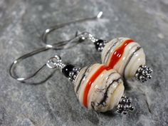 Southwest Red and Black Stripe Lampwork and by PattiVanderbloemen, $24.00