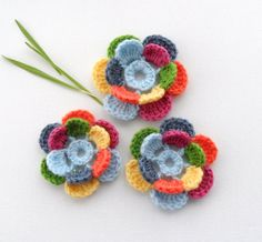 Crochet Applique   Multicolored Flowers   Any by CraftsbySigita,