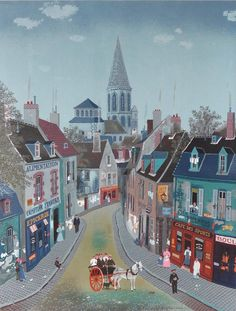 Michel Delacroix - France : Traditional Village - Lithograph poster at Landscape Illustration, Illustration Art, Illustrations, Michel Delacroix, Delacroix Paintings, Naive Art, The Villain, French Art, Beautiful Paintings