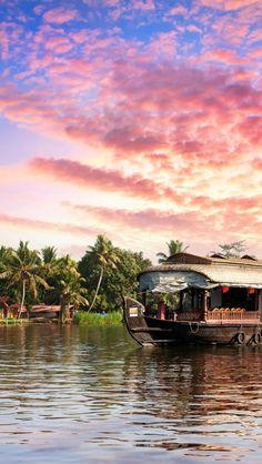 Backwaters sunset. Kerala, India