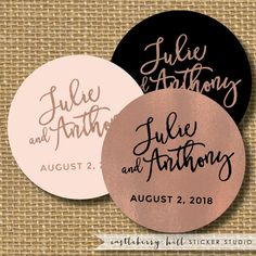Copper and black wedding sticker, black and copper wedding favor, rose gold sticker, favor label, bridal shower stickers, copper stickers