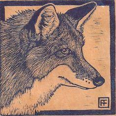 Fox linocut