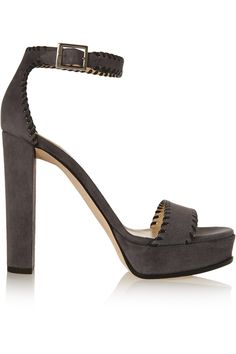 JIMMY CHOO Holly whipstitched suede platform sandals. #jimmychoo #shoes #sandals