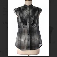Bcbg MaxAzria Sleeveless Black Plaid top Like New without tags.  Short sleeve.  Gray, plaid. 100% silk.  Offers welcome. BCBGMaxAzria Tops Blouses