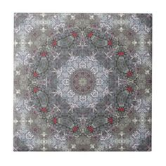 Gray & Red Mandala Tiles
