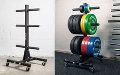 The simple, old-school plate tree is still the gold standard when it comes to efficient bumper storage at affiliates and garage gyms around the globe. Garage Gym, Garage House, Crossfit Box, Workout Rooms, Home Entertainment, Rogues, Old School, Things To Come, Plates