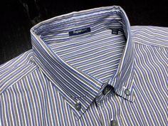 ERMENEGILDO ZEGNA Men XXL Blue Brown White Striped Long Sleeve Button-Down Shirt #ErmenegildoZegna #ButtonFront