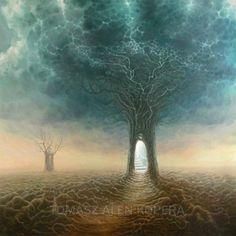 Tomasz Alen Kopera Movement surrealism Type oil on canvas Dimensions 90 x 90 [cm] / x Year : 2009 Fantasy Landscape, Fantasy Art, Necronomicon Lovecraft, Art Visionnaire, Symbolic Art, Visionary Art, Surreal Art, Tree Art, Traditional Art
