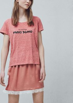 T-shirt algodão lantejoulas | MANGO