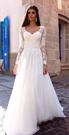 Lace Appliqued Long Sleeves Wedding Dresses,Elegant Bridal Dresses,Long