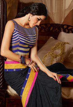 Black #Saree With Blue Cream #Blouse Crepe Jacquard Art Silk.