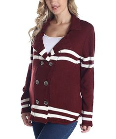 Take a look at this PinkBlush Burgundy Stripe Double-Breasted Maternity Cardigan by PinkBlush Maternity on #zulily today!