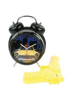 I'm getting this for my girl!  It looks like so much fun...Shoot the Taxi Alarm Clock with Gun Remote