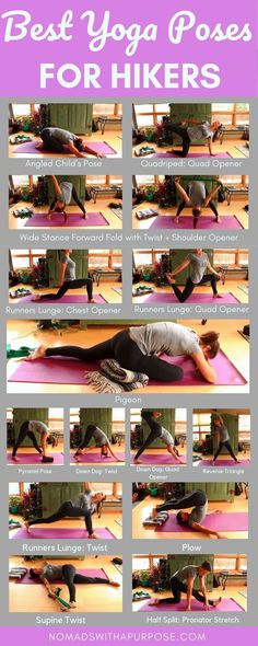 Yoga Poses For Hikers: Feel Stronger & Recover Faster Add this yoga routine before or after you hike to feel better and recover faster.Add this yoga routine before or after you hike to feel better and recover faster. Hatha Yoga, Yin Yoga, Iyengar Yoga, Yoga Routine, Workout Routines, Yoga Inspiration, Yoga Fitness, Yoga Hotel, Corps Yoga