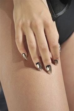 The Best Nail Art From the New York Spring 2013 Runways: Julep for Katie Gallagher:  Black gold.