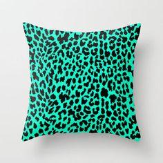 Neon Mint Leopard Throw Pillow by MN Art