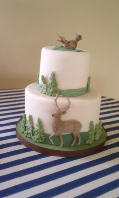 Birthday Cake Photos - Outdoorsy Cake with Pheasant, Deer and tree accents
