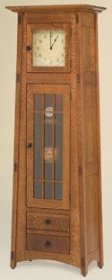 33% OFF Amish Furniture - Hand Crafted Shaker and Mission Furniture Online Outlet Store: McCoy Clock w/Glass Door: Oak
