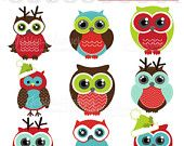 80% OFF - INSTANT DOWNLOAD, christmas owl party clipart, holiday owls clip art , for commercial use, personal use, invites, cards, scrapbook