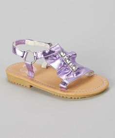 Another great find on #zulily! Purple Ruffle Jewel Sandal by Stepping Stones #zulilyfinds