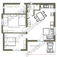 2 bedroom 2 bath cottage plans | bedroom house two bedrooms one bathroom living room with dining