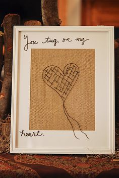 Love the look of framed burlap for a dry erase message spot.  Would love to use this for bible verses!